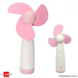 Portable Handheld Low Noise Soft Blades Mini Fan for Cooling Pink Colour