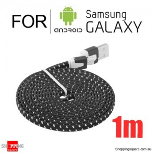 1m Nylon Braided Micro USB Charging Cable for Samsung Galaxy Note LG Android HTC Phones Black Colour