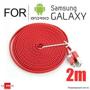2m Nylon Braided Micro USB Charging Cable for Samsung Galaxy Note LG Android HTC Phones Red Colour