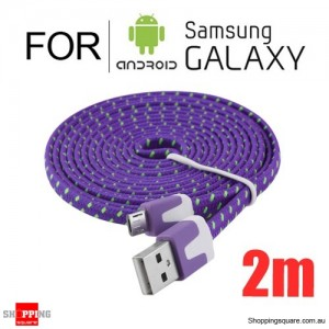 2m Nylon Braided Micro USB Charging Cable for Samsung Galaxy Note LG Android HTC Phones Purple Colour