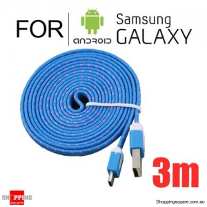 3m Nylon Braided Micro USB Charging Cable for Samsung Galaxy Note LG Android HTC Phones Blue Colour