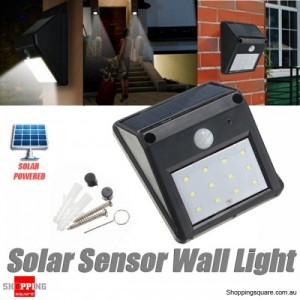 12 LED Solar Powered Outdoor Garden Security PIR Motion Sensor Light