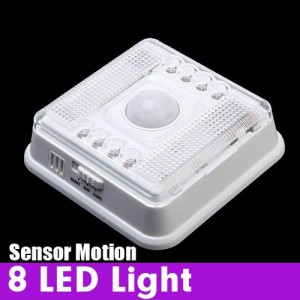 Wireless 8 LED Light with PIR Sensor & Motion Detection for Indoor White Colour