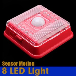 Wireless 8 LED Light with PIR Sensor & Motion Detection for Indoor Red Colour