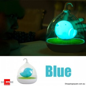 Rechargeable LED Lovely Birdcage Night Light w/ 3 Level Dimmer Blue Colour