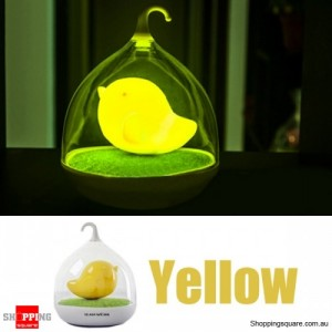 Rechargeable LED Lovely Birdcage Night Light w/ 3 Level Dimmer Yellow Colour
