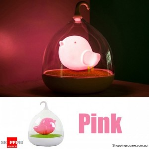 Rechargeable LED Lovely Birdcage Night Light w/ 3 Level Dimmer Pink Colour