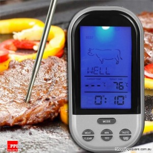 Wireless Remote Control Food Meat Thermometer for BBQ Kitchen Cooking Oven