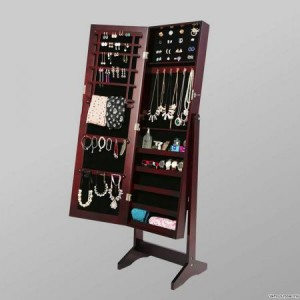 Mirror Jewellery Cabinet Storage Organiser - Walnut