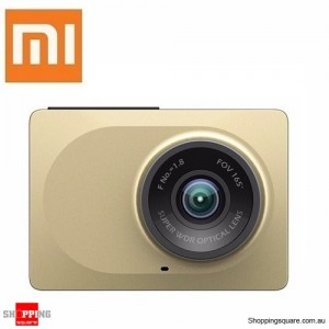 "Xiaomi Yi 2.7"" 165 Degree DashCam DashBoard Camera Built-In WiFi 1080p Car DVR Recorder ADAS Gold Colour"
