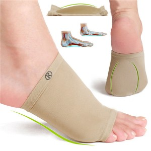 Stretchable Arch Support Foot Orthotic Corrector with Silica Gel Cushion for Platypodia/Pain Relief
