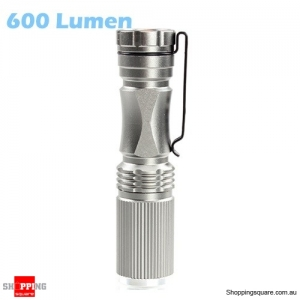 600 Lumen 7W Zoomable LED Flashlight Torch - Silver
