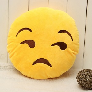 Emoji Smiley Emoticon Yellow Round Plush Soft Doll Toy - Expression Discontented
