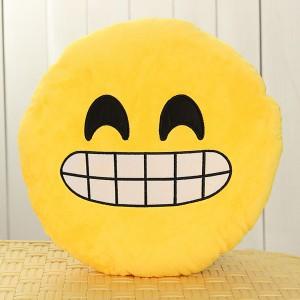 Emoji Smiley Emoticon Yellow Round Plush Soft Doll Toy - Expression Grin