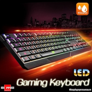 Waterproof Gaming Keyboard with Multicolour LED Backlight for DOTA2 WoW LoL GTA PC