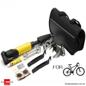 Portable Bicycle Bike MTB Tyre Repair Maintenance Tools Kit Set with Pump and Bag DIY