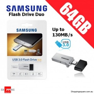 Samsung Flash Drive DUO 64GB USB 3.0 Up to 130MB/s Micro USB Smartphone PC Tablet OTG