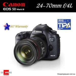 Canon EOS 5D Mark III EF Kit 24-70mm F/4L IS DSLR 22.3MP Full HD Full Frame Camera Black