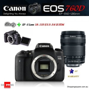 Canon EOS 760D 24.2MP DSLR + EF-S 18-135mm IS STM Lens Kit Camera