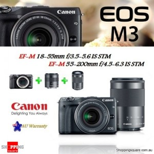 Canon EOS M3 DSLR 24.2MP + EF-M 18-55mm & 55-200mm IS STM Lens Camera Kit Black
