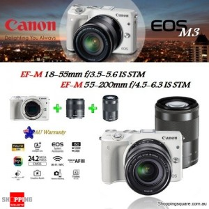 Canon EOS M3 DSLR 24.2MP + EF-M 18-55mm & 55-200mm IS STM Lens Camera Kit White