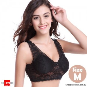 Womens Sexy Wireless Lace Padded Bra Bralette Crop Tops for Yoga Sleeping Black Colour Size M