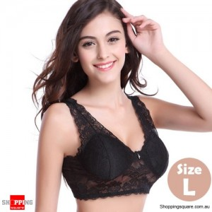 Womens Sexy Wireless Lace Padded Bra Bralette Crop Tops for Yoga Sleeping Black Colour Size L
