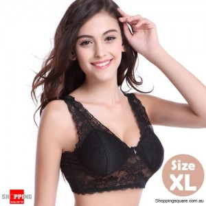 Womens Sexy Wireless Lace Padded Bra Bralette Crop Tops for Yoga Sleeping Black Colour Size XL
