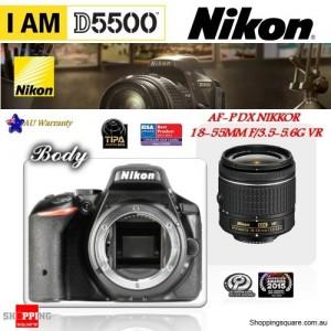 Nikon D5500 24.2MP DSLR Body & AF-P DX Nikkor 18-55 VR Lens Black
