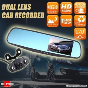 "HD 1080P Car Dual lens Rearview Mirror Dash Camera Recorder with 4.3"" Monitor & Dual lens"