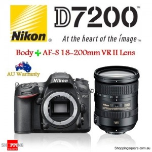 Nikon D7200 24.2MP DSLR + AF-S DX 18-200mm f/3.5-5.6G VR II Lens Camera Kit