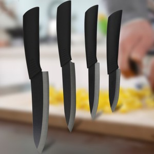 Premium Ceramic Kitchen Knife Set with Black Blade 4 Size