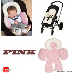 Baby Kid Support Reversible Cushions Pad for Car Seat Stroller with Safety Compliance Pink Colour