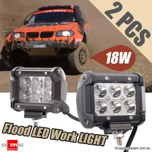 2x 4Inch 18W CREE LED Work Flood Light for Offroad 4WD SUV Car