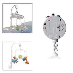 Baby Kid Mobile Crib Bed Bell Electric Autorotation Music Box with 12 Melodies Song White Colour