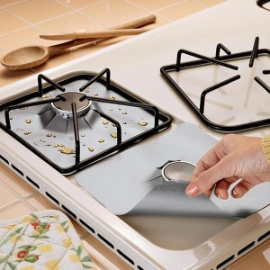 4x Reusable Silver Gas Range Hob Stovetop Non Stick Protector Liner Better than Foil