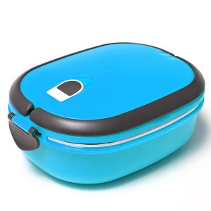 Stacking Vacuum Seal Lunch Box with Stainless Steel Thermal Insulation & Dual Handle Blue Colour 1 Deck
