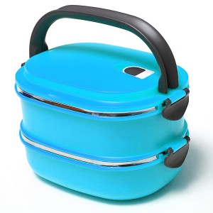 Stacking Vacuum Seal Lunch Box with Stainless Steel Thermal Insulation & Dual Handle Blue Colour 2 Decks