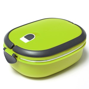 Stacking Vacuum Seal Lunch Box with Stainless Steel Thermal Insulation & Dual Handle Green Colour 1 Deck
