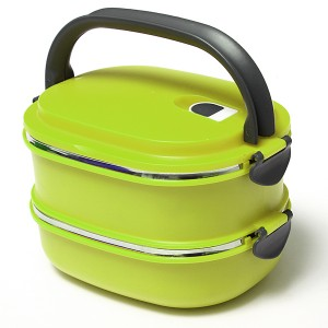 Stacking Vacuum Seal Lunch Box with Stainless Steel Thermal Insulation & Dual Handle Green Colour 2 Decks