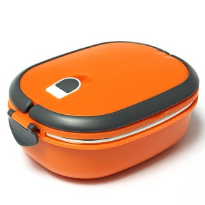 Stacking Vacuum Seal Lunch Box with Stainless Steel Thermal Insulation & Dual Handle Orange Colour 1 Deck