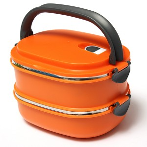 Stacking Vacuum Seal Lunch Box with Stainless Steel Thermal Insulation & Dual Handle Orange Colour 2 Decks