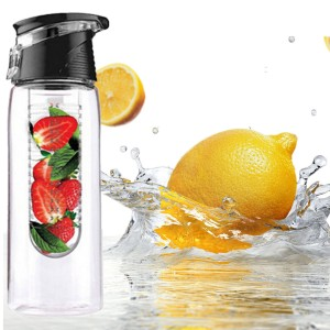 800ML Infusing Flip Lid Lemon Orange Fruit Juice Water Bottle for Sport & Health Black Colour