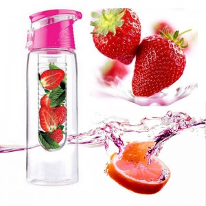800ML Infusing Flip Lid Lemon Orange Fruit Juice Water Bottle for Sport & Health Pink Colour