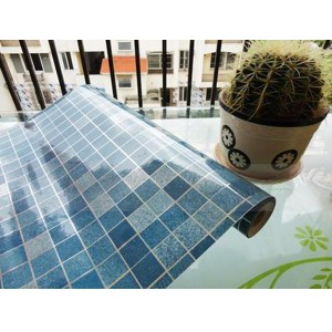 45x500cm Kitchen Home Waterproof Self Adhesive Anti Oil Mosaic Wallpaper Sticker Decoration Blue Colour