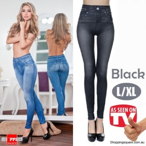 Womens Sexy Stylish slim fit Skinny Jeggings Leggings Jeans Denim Pants Black Colour Size L/XL