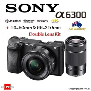 Sony Alpha A6300 ILCE-6300 & 16-50mm + 55-210mm Double Lens Camera Kit Black