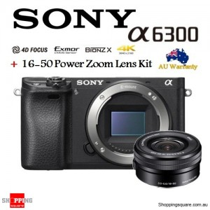 Sony Alpha A6300 ILCE-6300 & 16-50mm Power Zoom Lens Camera Kit Black