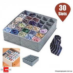 30 Cells Bamboo Charcoal Closet Drawer Storage Box for Underwear Socks