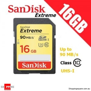 SanDisk Extreme 16GB SDHC SD UHS-I U3 4K Ultra HD Memory Card 90MB/s